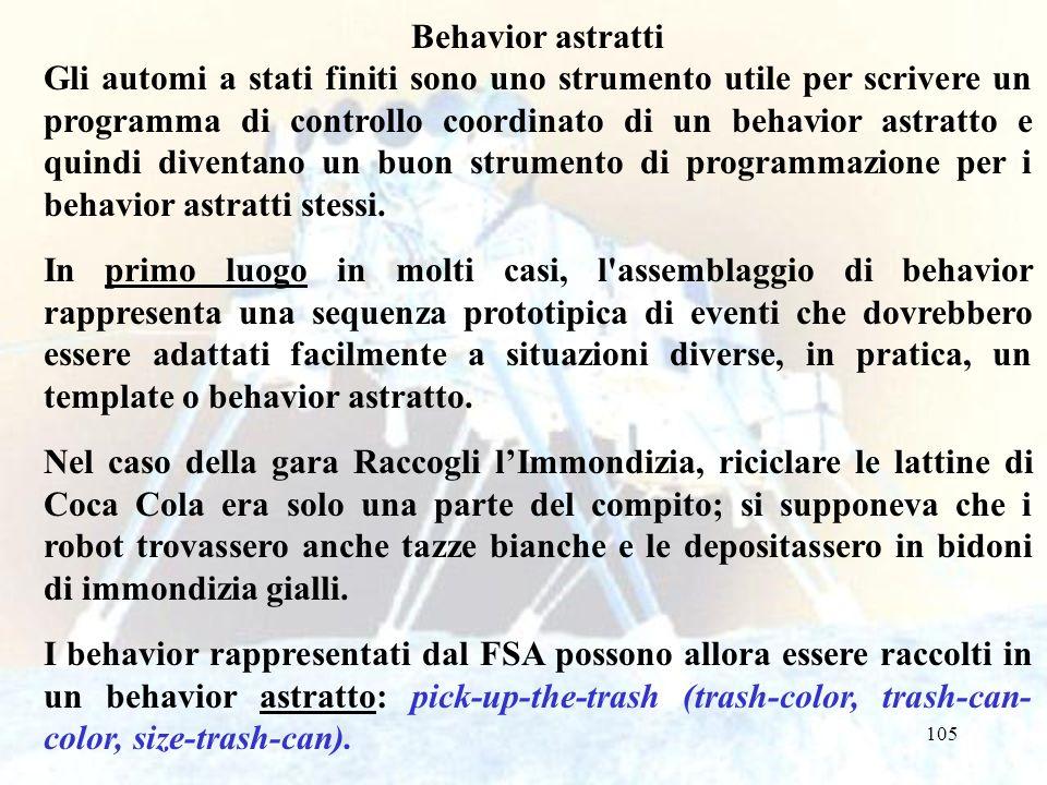 105 Behavior astratti Gli automi a stati finiti sono uno strumento utile per scrivere un programma di controllo coordinato di un behavior astratto e quindi diventano un buon strumento di programmazione per i behavior astratti stessi.
