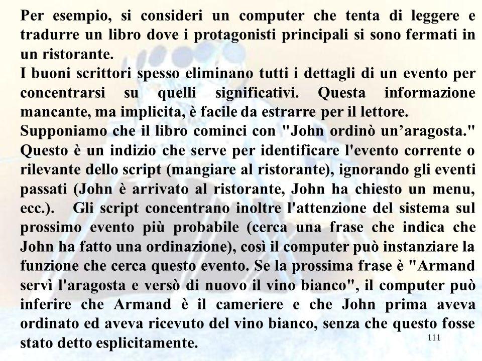 111 Per esempio, si consideri un computer che tenta di leggere e tradurre un libro dove i protagonisti principali si sono fermati in un ristorante. I