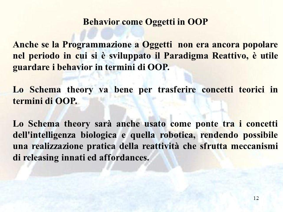 12 Behavior come Oggetti in OOP Anche se la Programmazione a Oggetti non era ancora popolare nel periodo in cui si è sviluppato il Paradigma Reattivo, è utile guardare i behavior in termini di OOP.