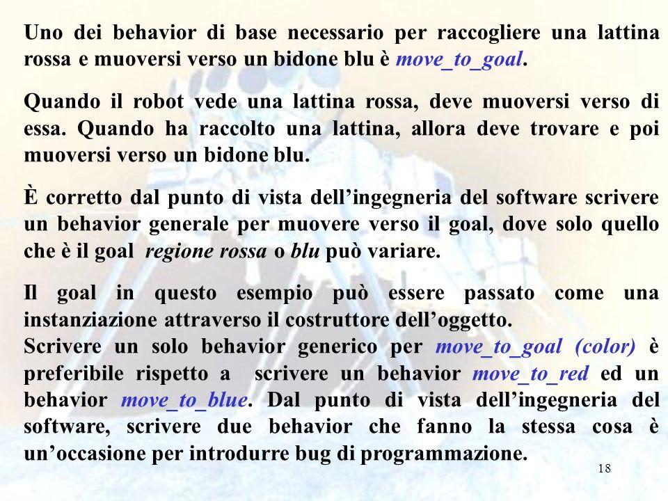 18 Uno dei behavior di base necessario per raccogliere una lattina rossa e muoversi verso un bidone blu è move_to_goal.