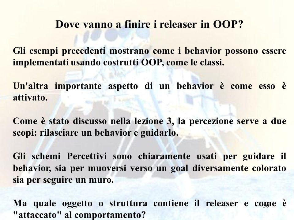 30 Dove vanno a finire i releaser in OOP? Gli esempi precedenti mostrano come i behavior possono essere implementati usando costrutti OOP, come le cla