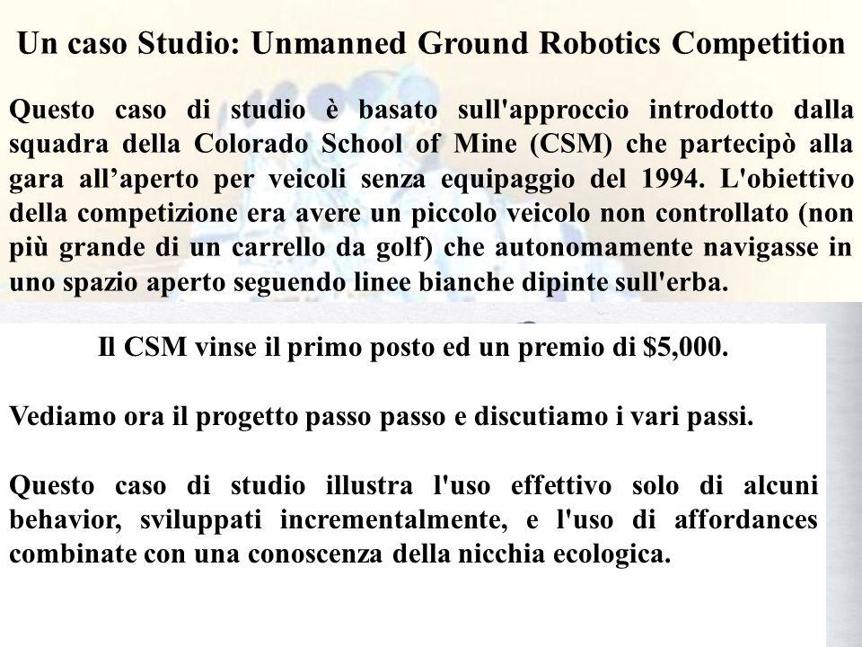 42 Un caso Studio: Unmanned Ground Robotics Competition Questo caso di studio è basato sull approccio introdotto dalla squadra della Colorado School of Mine (CSM) che partecipò alla gara allaperto per veicoli senza equipaggio del 1994.