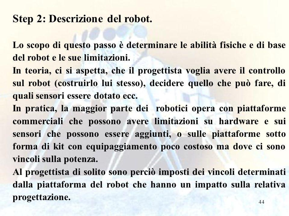 44 Step 2: Descrizione del robot. Lo scopo di questo passo è determinare le abilità fisiche e di base del robot e le sue limitazioni. In teoria, ci si