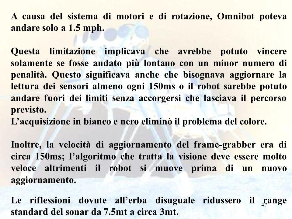 47 A causa del sistema di motori e di rotazione, Omnibot poteva andare solo a 1.5 mph. Questa limitazione implicava che avrebbe potuto vincere solamen