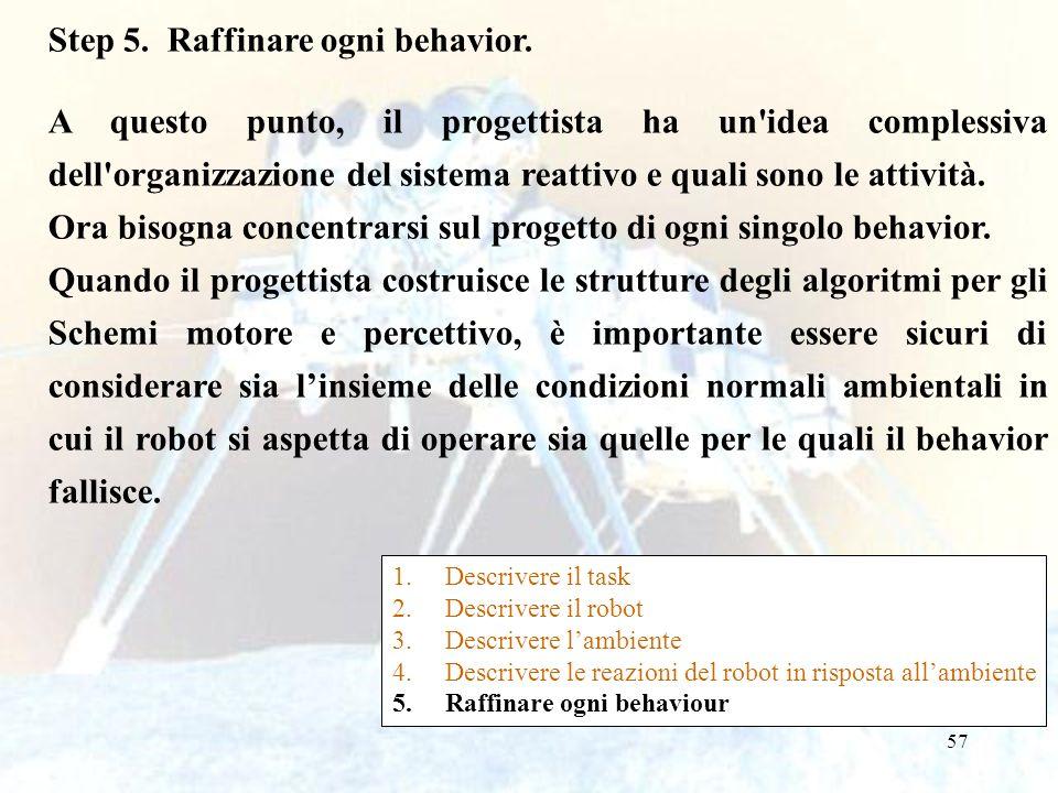 57 Step 5. Raffinare ogni behavior. A questo punto, il progettista ha un'idea complessiva dell'organizzazione del sistema reattivo e quali sono le att