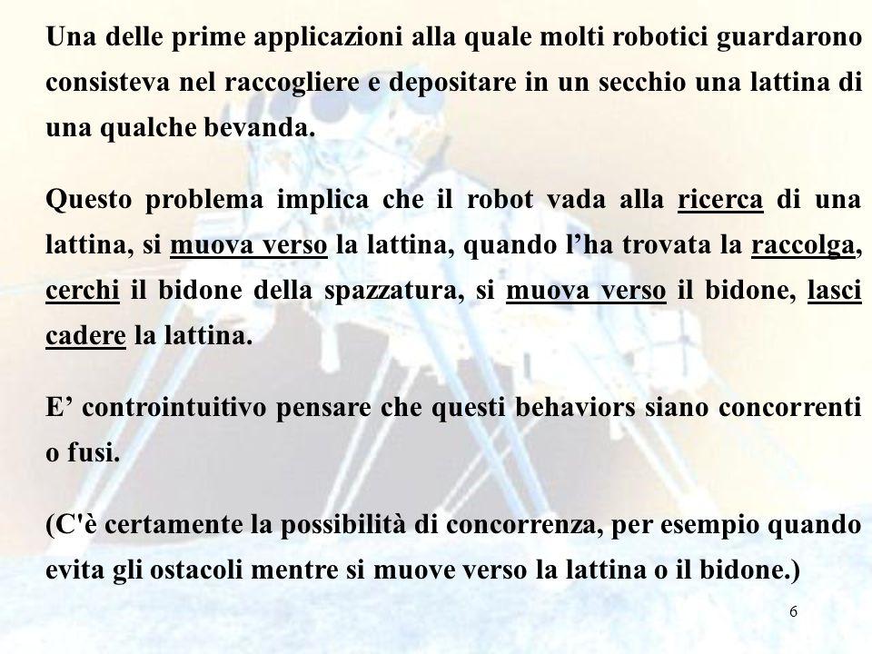 107 Un altro behavior comune usato per linizializzazione è limprinting, dove al robot è presentato un oggetto e esso si ricorda il colore percepito (o qualche altro attributo dell oggetto) per usarlo con un behavior nominale (in realtà si fa una calibrazione del sensore).