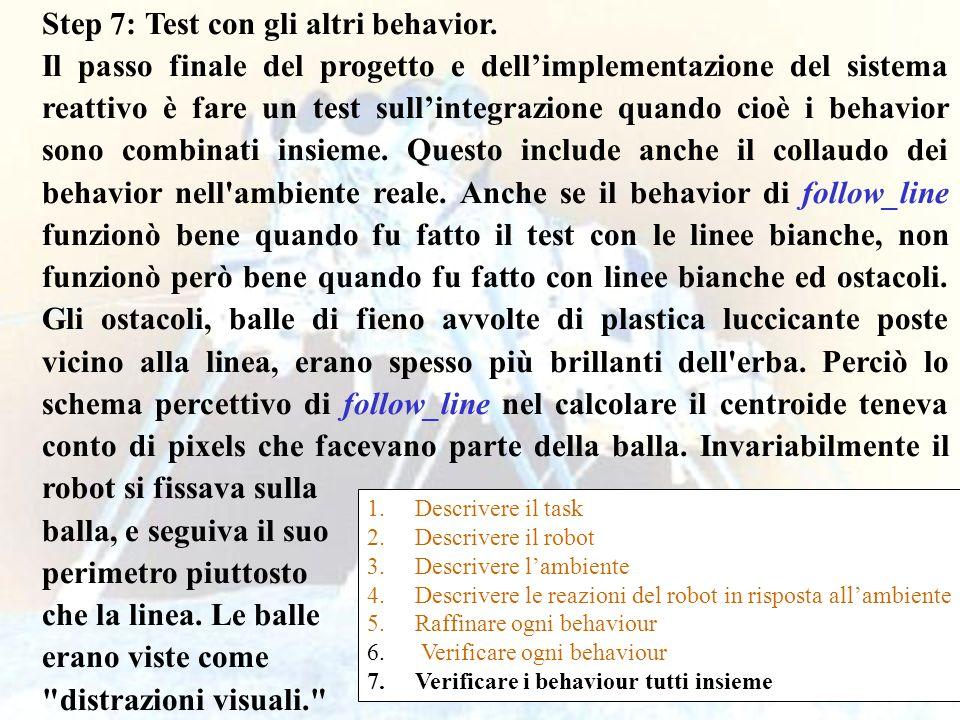 61 Step 7: Test con gli altri behavior. Il passo finale del progetto e dellimplementazione del sistema reattivo è fare un test sullintegrazione quando