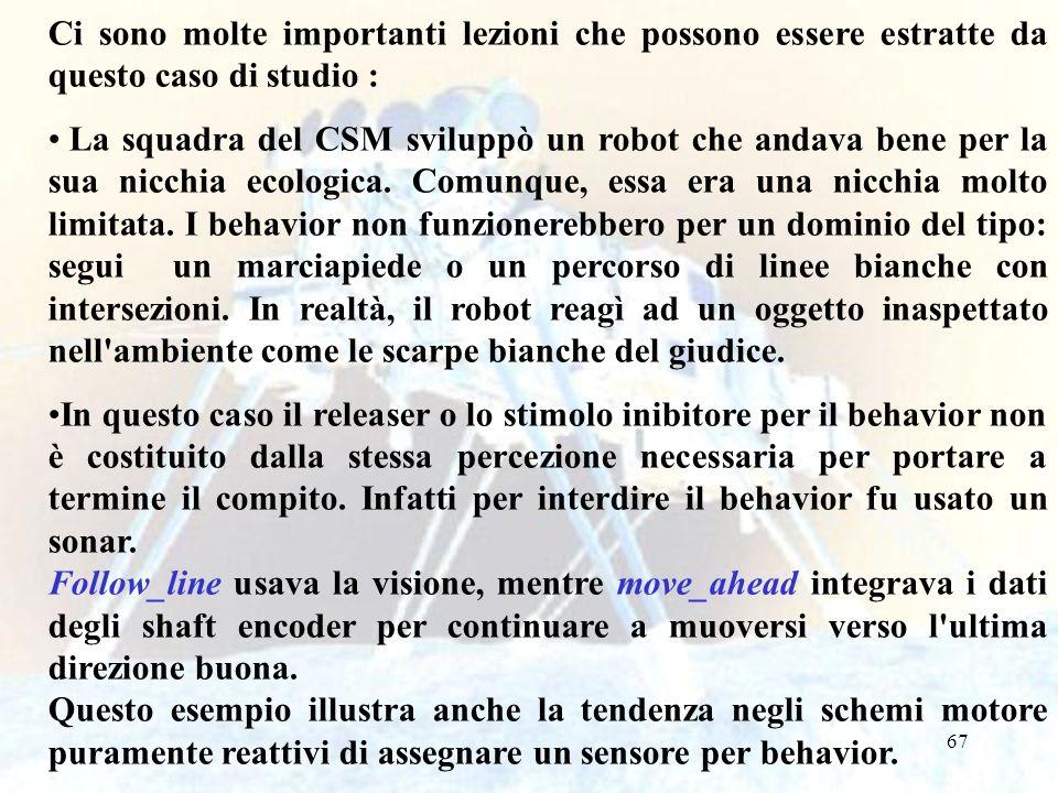 67 Ci sono molte importanti lezioni che possono essere estratte da questo caso di studio : La squadra del CSM sviluppò un robot che andava bene per la