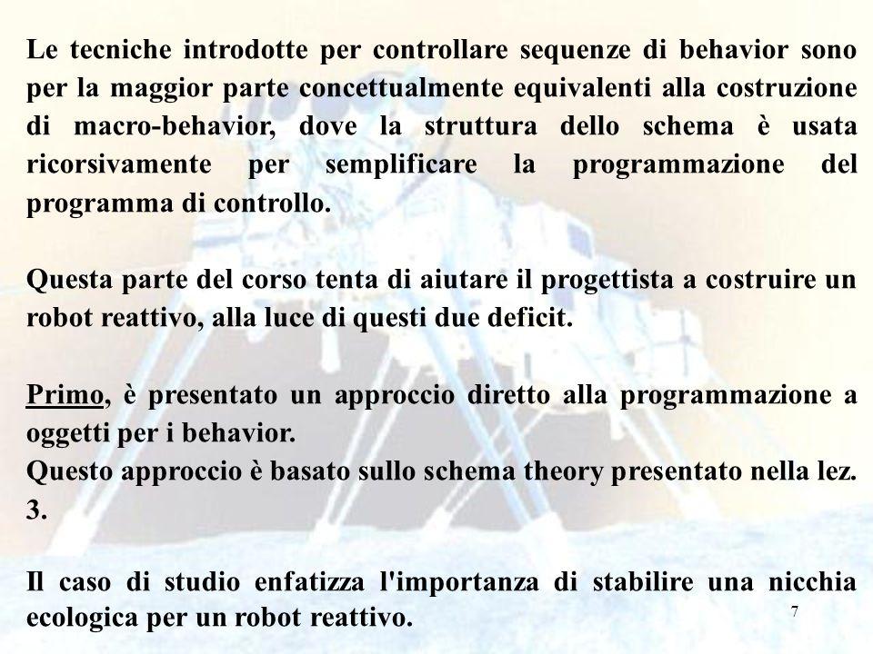 7 Le tecniche introdotte per controllare sequenze di behavior sono per la maggior parte concettualmente equivalenti alla costruzione di macro-behavior, dove la struttura dello schema è usata ricorsivamente per semplificare la programmazione del programma di controllo.