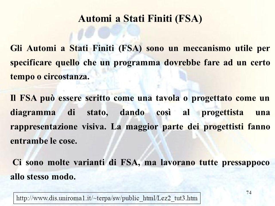 74 Automi a Stati Finiti (FSA) Gli Automi a Stati Finiti (FSA) sono un meccanismo utile per specificare quello che un programma dovrebbe fare ad un certo tempo o circostanza.