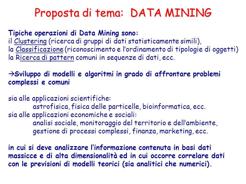 Tipiche operazioni di Data Mining sono: il Clustering (ricerca di gruppi di dati statisticamente simili), la Classificazione (riconoscimento e lordina