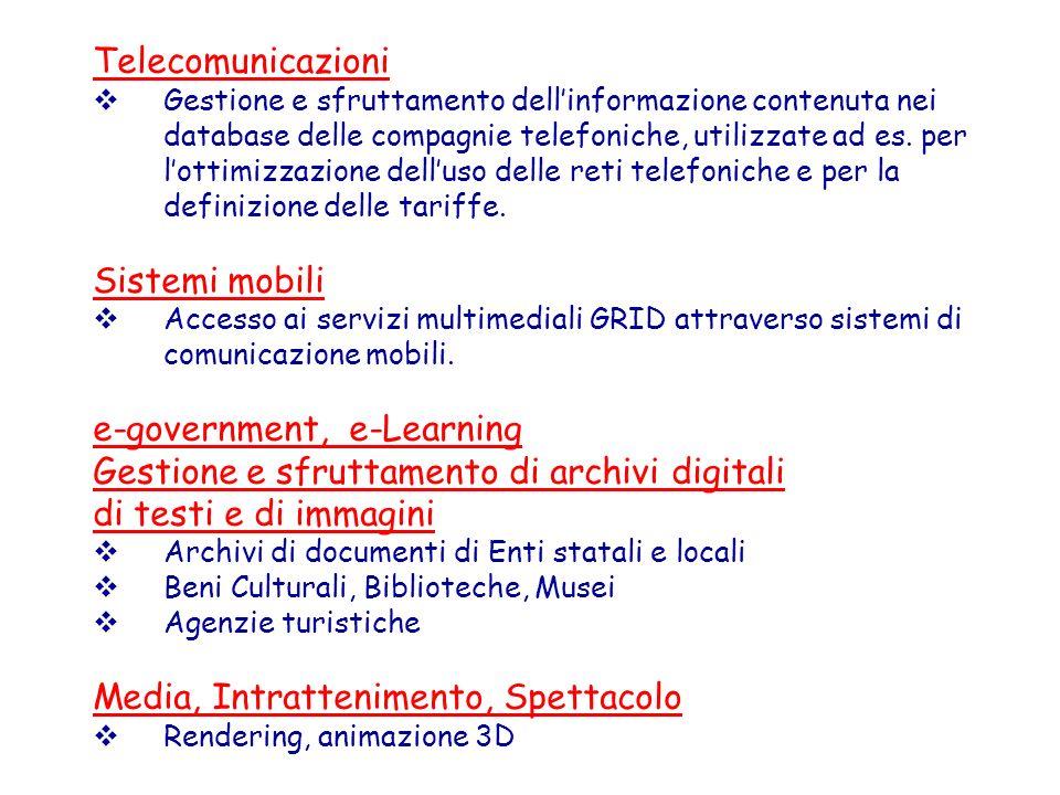 Telecomunicazioni Gestione e sfruttamento dellinformazione contenuta nei database delle compagnie telefoniche, utilizzate ad es. per lottimizzazione d