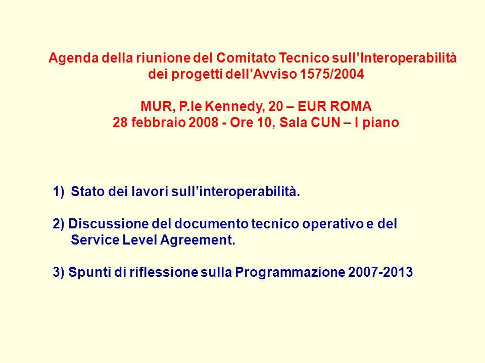 Agenda della riunione del Comitato Tecnico sullInteroperabilità dei progetti dellAvviso 1575/2004 MUR, P.le Kennedy, 20 – EUR ROMA 28 febbraio 2008 - Ore 10, Sala CUN – I piano 1)Stato dei lavori sullinteroperabilità.