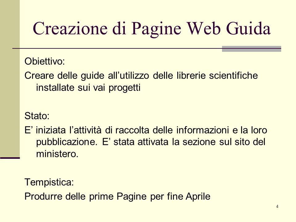 4 Obiettivo: Creare delle guide allutilizzo delle librerie scientifiche installate sui vai progetti Stato: E iniziata lattività di raccolta delle informazioni e la loro pubblicazione.