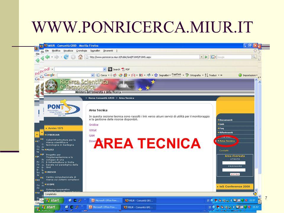7 WWW.PONRICERCA.MIUR.IT AREA UTENTI AREA TECNICA