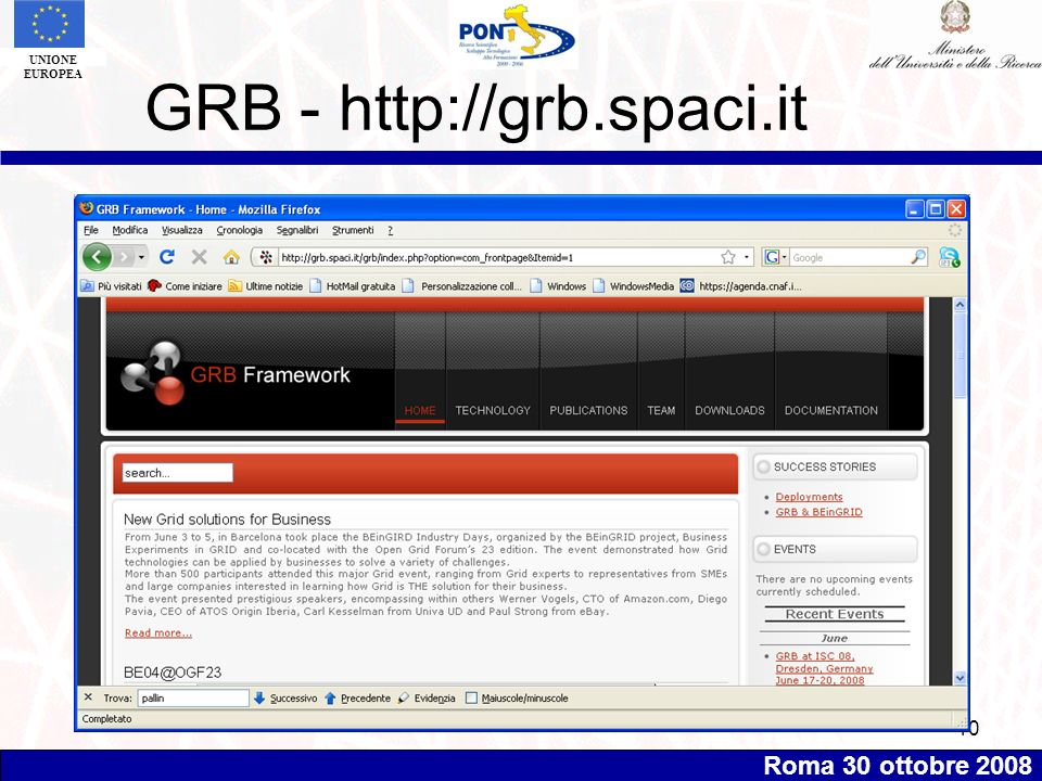 Roma 30 ottobre 2008 UNIONE EUROPEA 10 GRB - http://grb.spaci.it