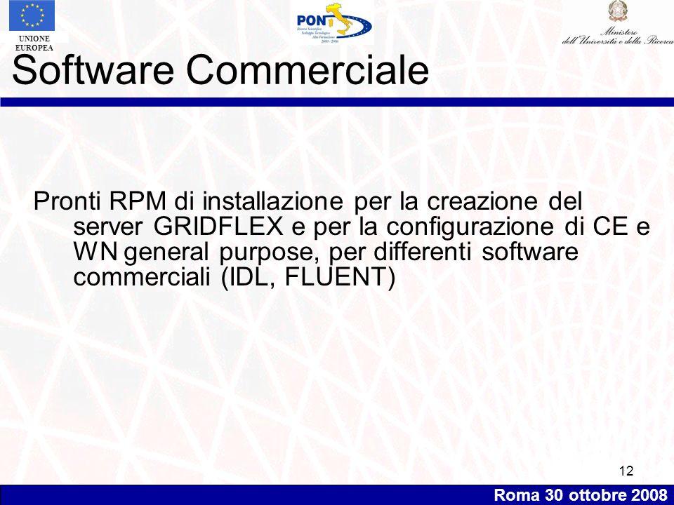 Roma 30 ottobre 2008 UNIONE EUROPEA 12 Software Commerciale Pronti RPM di installazione per la creazione del server GRIDFLEX e per la configurazione di CE e WN general purpose, per differenti software commerciali (IDL, FLUENT)