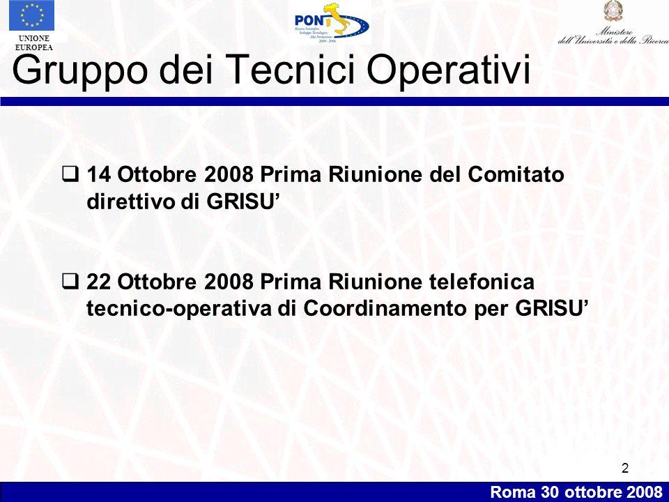 Roma 30 ottobre 2008 UNIONE EUROPEA 2 14 Ottobre 2008 Prima Riunione del Comitato direttivo di GRISU 22 Ottobre 2008 Prima Riunione telefonica tecnico-operativa di Coordinamento per GRISU Gruppo dei Tecnici Operativi
