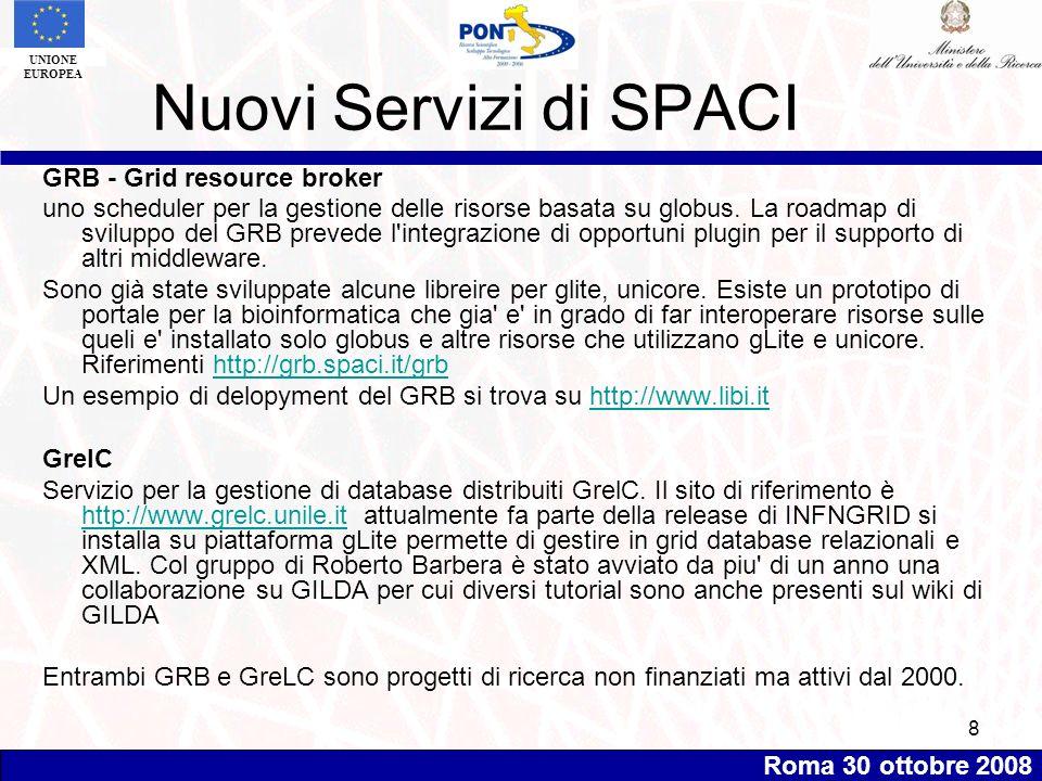 Roma 30 ottobre 2008 UNIONE EUROPEA 8 Nuovi Servizi di SPACI GRB - Grid resource broker uno scheduler per la gestione delle risorse basata su globus.