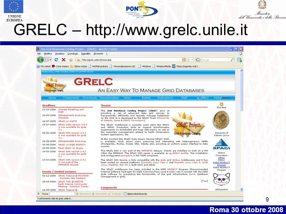 Roma 30 ottobre 2008 UNIONE EUROPEA 9 GRELC – http://www.grelc.unile.it