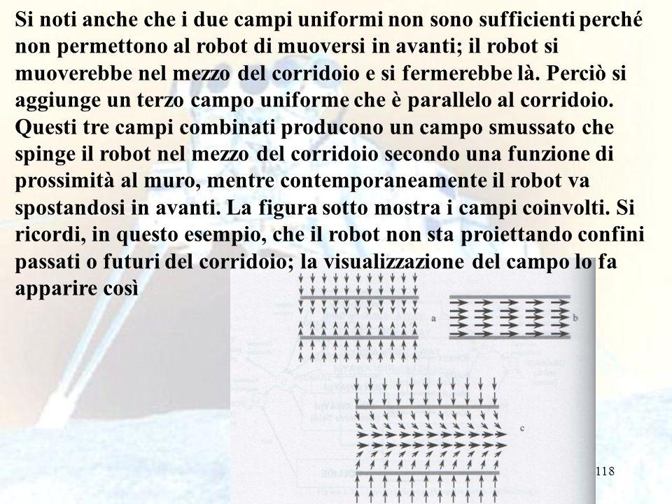118 Si noti anche che i due campi uniformi non sono sufficienti perché non permettono al robot di muoversi in avanti; il robot si muoverebbe nel mezzo del corridoio e si fermerebbe là.