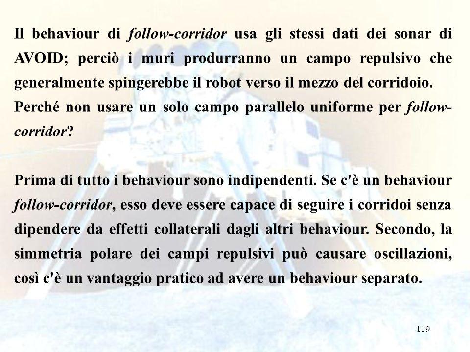 119 Il behaviour di follow-corridor usa gli stessi dati dei sonar di AVOID; perciò i muri produrranno un campo repulsivo che generalmente spingerebbe