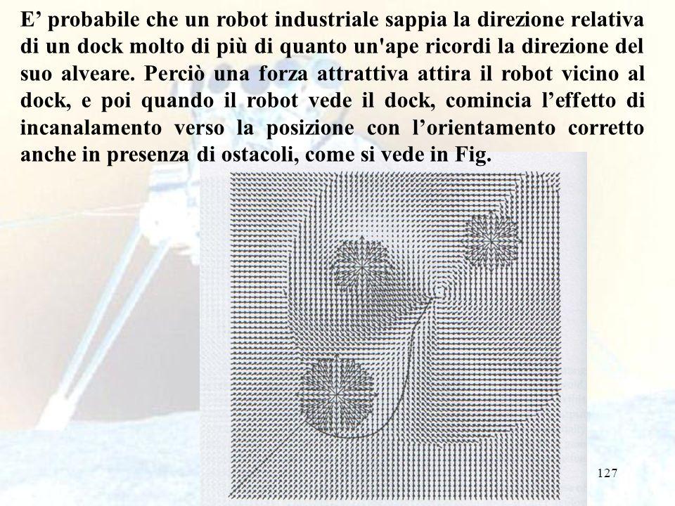 127 E probabile che un robot industriale sappia la direzione relativa di un dock molto di più di quanto un ape ricordi la direzione del suo alveare.