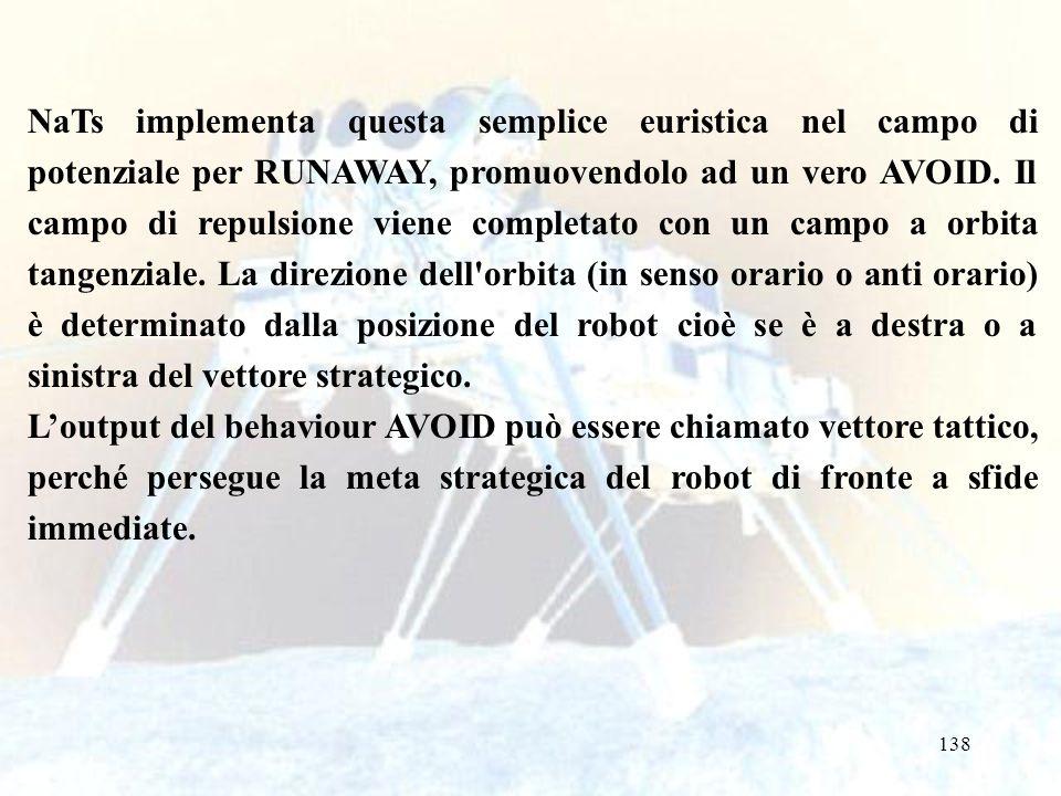 138 NaTs implementa questa semplice euristica nel campo di potenziale per RUNAWAY, promuovendolo ad un vero AVOID. Il campo di repulsione viene comple
