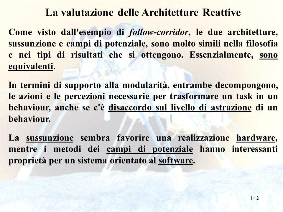 142 La valutazione delle Architetture Reattive Come visto dall esempio di follow-corridor, le due architetture, sussunzione e campi di potenziale, sono molto simili nella filosofia e nei tipi di risultati che si ottengono.