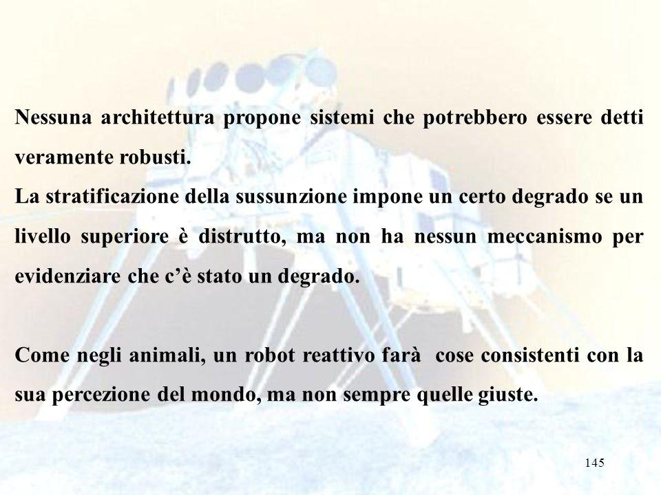 145 Nessuna architettura propone sistemi che potrebbero essere detti veramente robusti. La stratificazione della sussunzione impone un certo degrado s