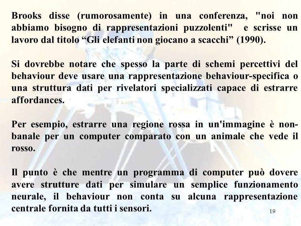 19 Brooks disse (rumorosamente) in una conferenza, noi non abbiamo bisogno di rappresentazioni puzzolenti e scrisse un lavoro dal titolo Gli elefanti non giocano a scacchi (1990).