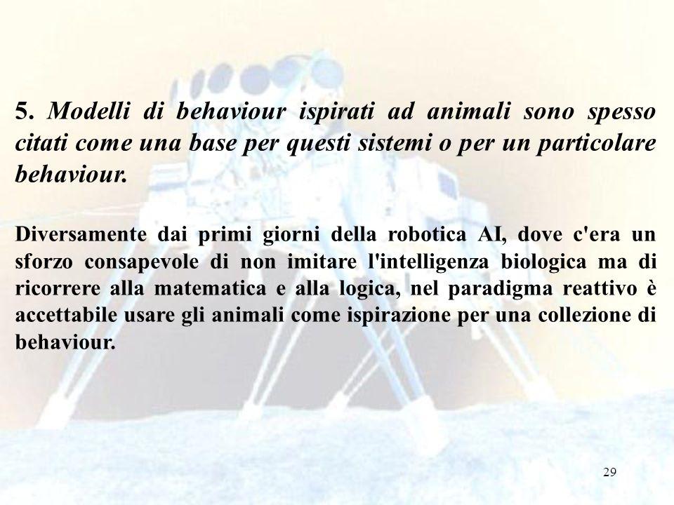 29 5. Modelli di behaviour ispirati ad animali sono spesso citati come una base per questi sistemi o per un particolare behaviour. Diversamente dai pr