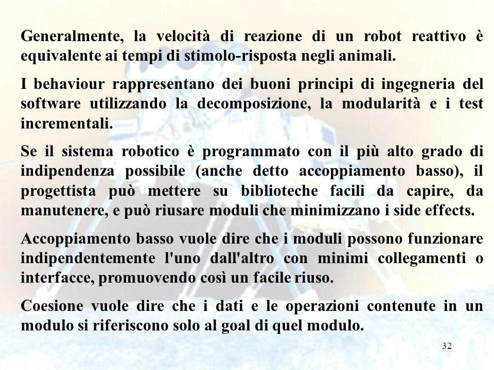 32 Generalmente, la velocità di reazione di un robot reattivo è equivalente ai tempi di stimolo-risposta negli animali. I behaviour rappresentano dei