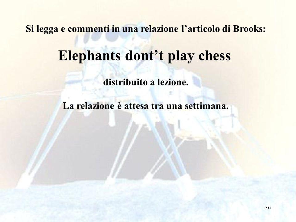 36 Si legga e commenti in una relazione larticolo di Brooks: Elephants dontt play chess distribuito a lezione. La relazione è attesa tra una settimana