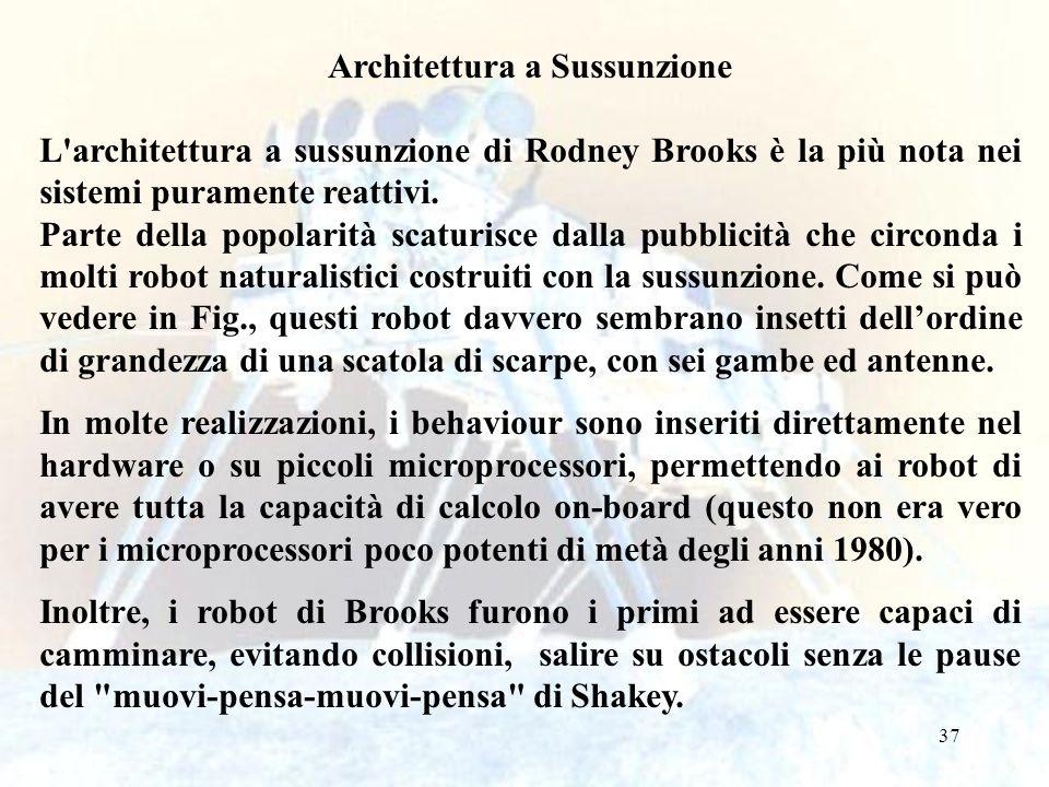 37 Architettura a Sussunzione L'architettura a sussunzione di Rodney Brooks è la più nota nei sistemi puramente reattivi. Parte della popolarità scatu