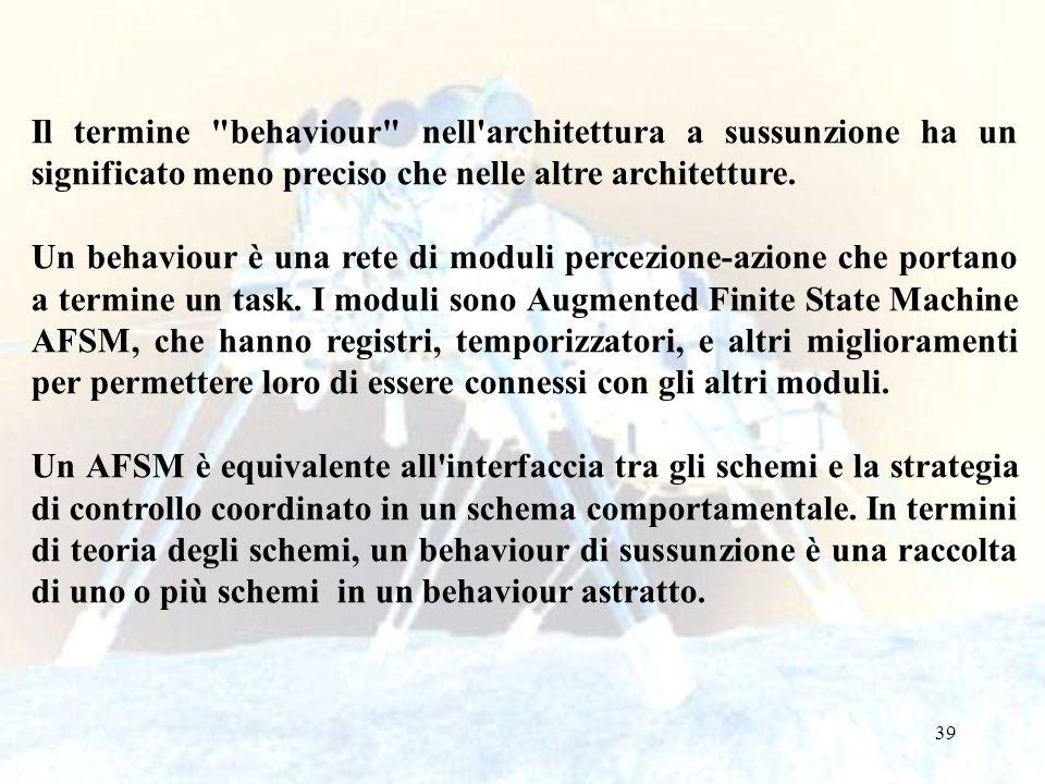 39 Il termine behaviour nell architettura a sussunzione ha un significato meno preciso che nelle altre architetture.