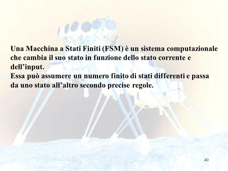 40 Una Macchina a Stati Finiti (FSM) è un sistema computazionale che cambia il suo stato in funzione dello stato corrente e dellinput. Essa può assume