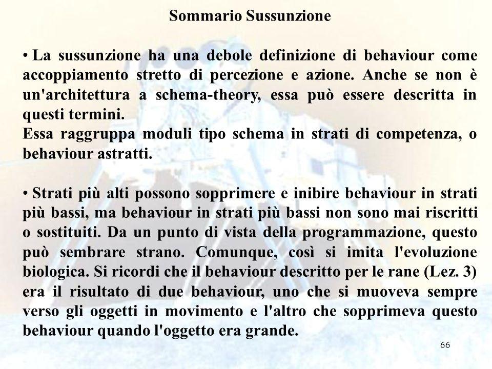 66 Sommario Sussunzione La sussunzione ha una debole definizione di behaviour come accoppiamento stretto di percezione e azione.