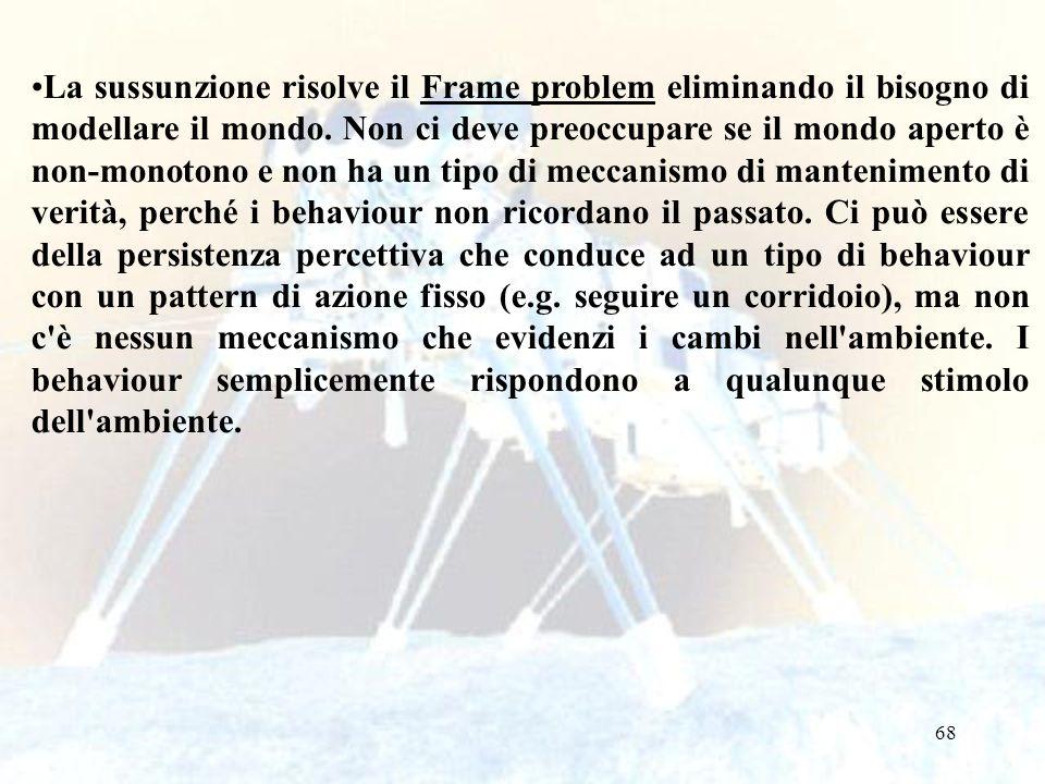 68 La sussunzione risolve il Frame problem eliminando il bisogno di modellare il mondo. Non ci deve preoccupare se il mondo aperto è non-monotono e no