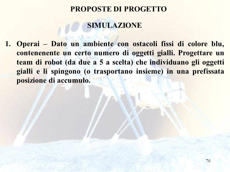 70 PROPOSTE DI PROGETTO SIMULAZIONE 1.Operai – Dato un ambiente con ostacoli fissi di colore blu, contenenente un certo numero di oggetti gialli. Prog