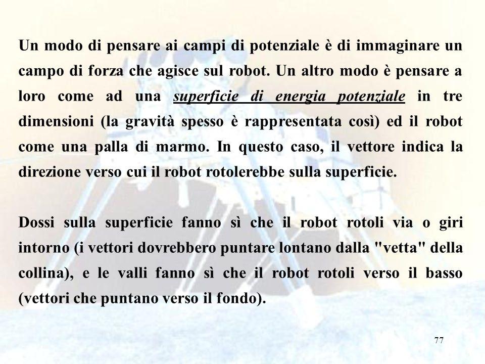 77 Un modo di pensare ai campi di potenziale è di immaginare un campo di forza che agisce sul robot.