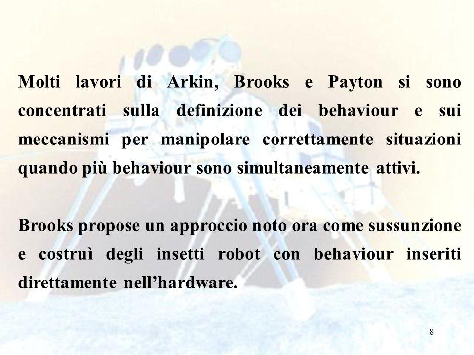 8 Molti lavori di Arkin, Brooks e Payton si sono concentrati sulla definizione dei behaviour e sui meccanismi per manipolare correttamente situazioni quando più behaviour sono simultaneamente attivi.