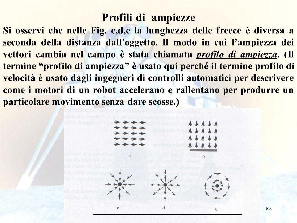 82 Profili di ampiezze Si osservi che nelle Fig. c,d,e la lunghezza delle frecce è diversa a seconda della distanza dall'oggetto. Il modo in cui lampi