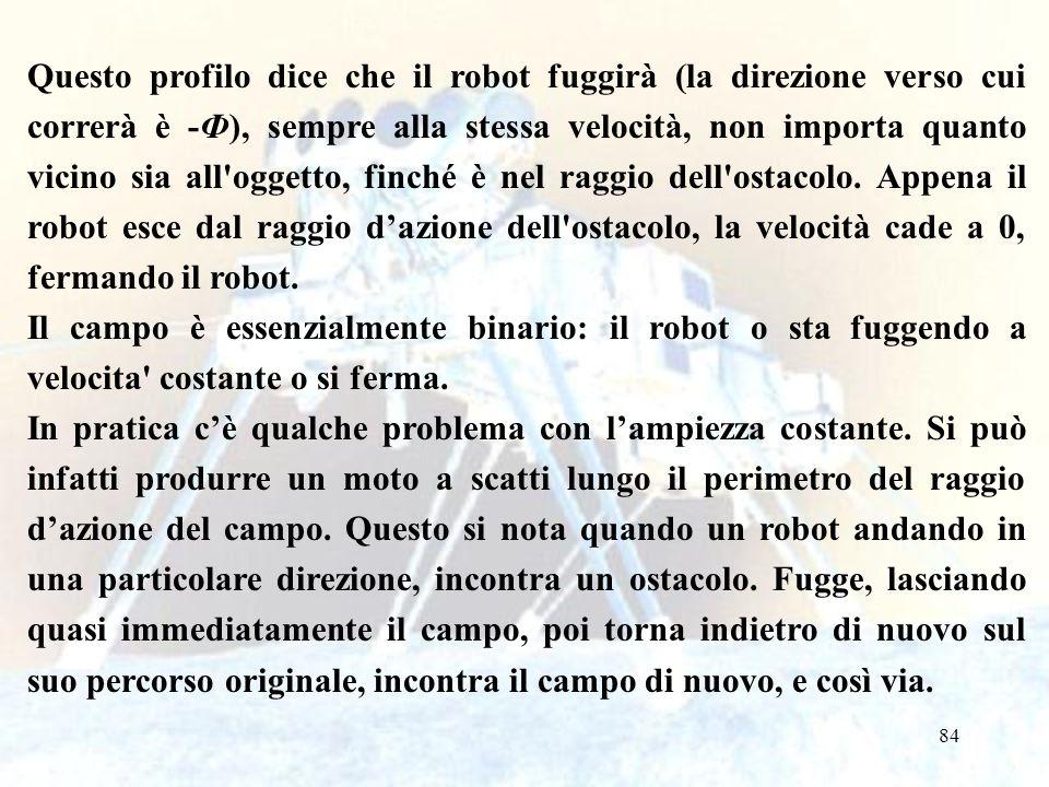 84 Questo profilo dice che il robot fuggirà (la direzione verso cui correrà è -Ф), sempre alla stessa velocità, non importa quanto vicino sia all oggetto, finché è nel raggio dell ostacolo.