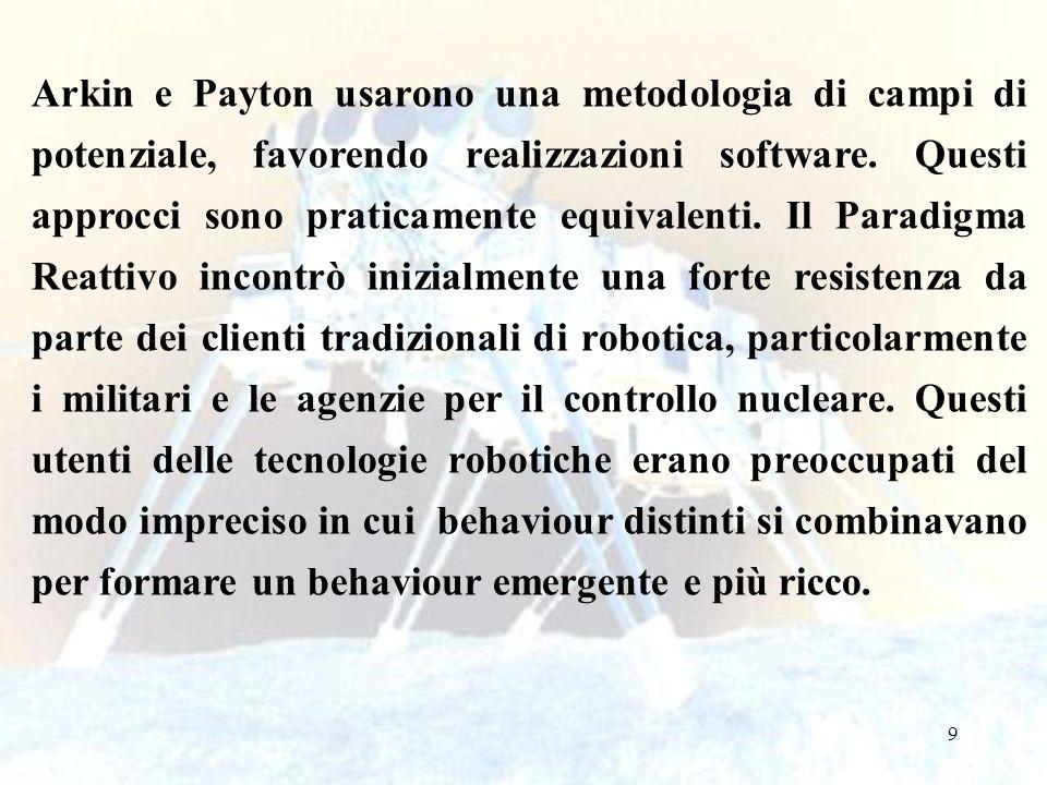 9 Arkin e Payton usarono una metodologia di campi di potenziale, favorendo realizzazioni software. Questi approcci sono praticamente equivalenti. Il P