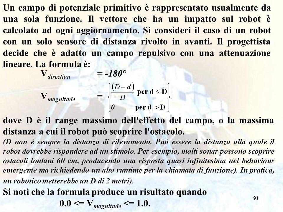 91 V direction = -180° V magnitude = dove D è il range massimo dell'effetto del campo, o la massima distanza a cui il robot può scoprire l'ostacolo. (