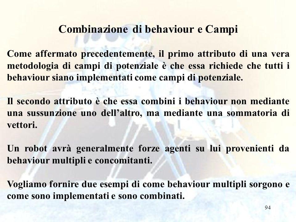 94 Combinazione di behaviour e Campi Come affermato precedentemente, il primo attributo di una vera metodologia di campi di potenziale è che essa richiede che tutti i behaviour siano implementati come campi di potenziale.