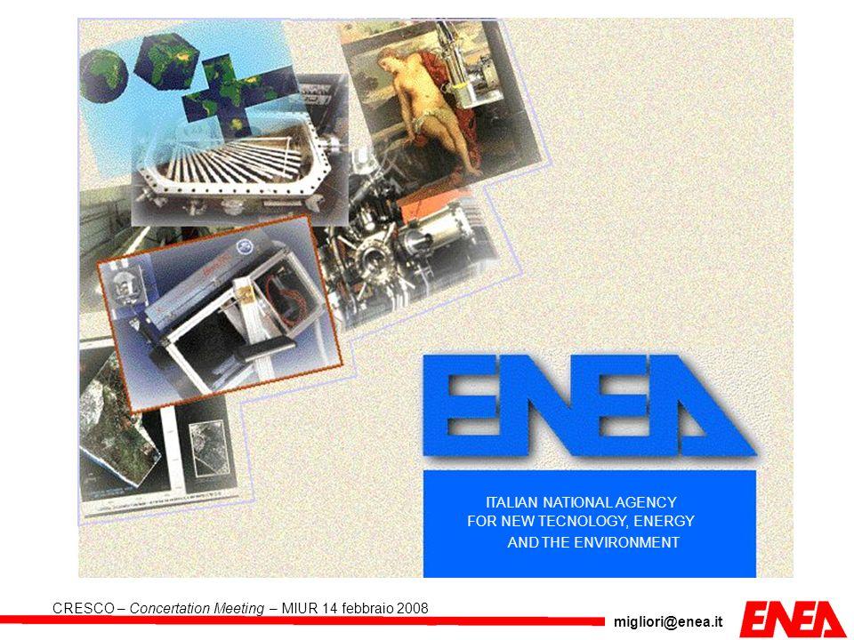 migliori@enea.it CRESCO – Concertation Meeting – MIUR 14 febbraio 2008 LA I Realizzazione del Polo di calcolo e sviluppo di nuove funzionalità di GRID Computing Sottoprogetti Sottoprogetti SP I.1 SP I.1 Realizzazione dellinfrastruttura HPCN SP I.2 SP I.2 Sviluppo ed integrazione dellarchitettura GRID e di grafica 3D SP I.3 SP I.3 Sviluppo ed ottimizzazione di codici applicativi in settori di R&S di punta SP I.4 SP I.4 Progettazione e sviluppo di librerie per limplementazione efficiente e parallela di nuclei computazionali su dispositivi FPGA integrati in un ambiente GRID SP I.5 SP I.5 Web archives