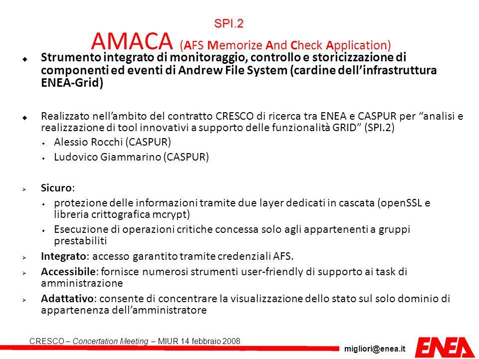 migliori@enea.it CRESCO – Concertation Meeting – MIUR 14 febbraio 2008 AMACA (AFS Memorize And Check Application) Strumento integrato di monitoraggio,