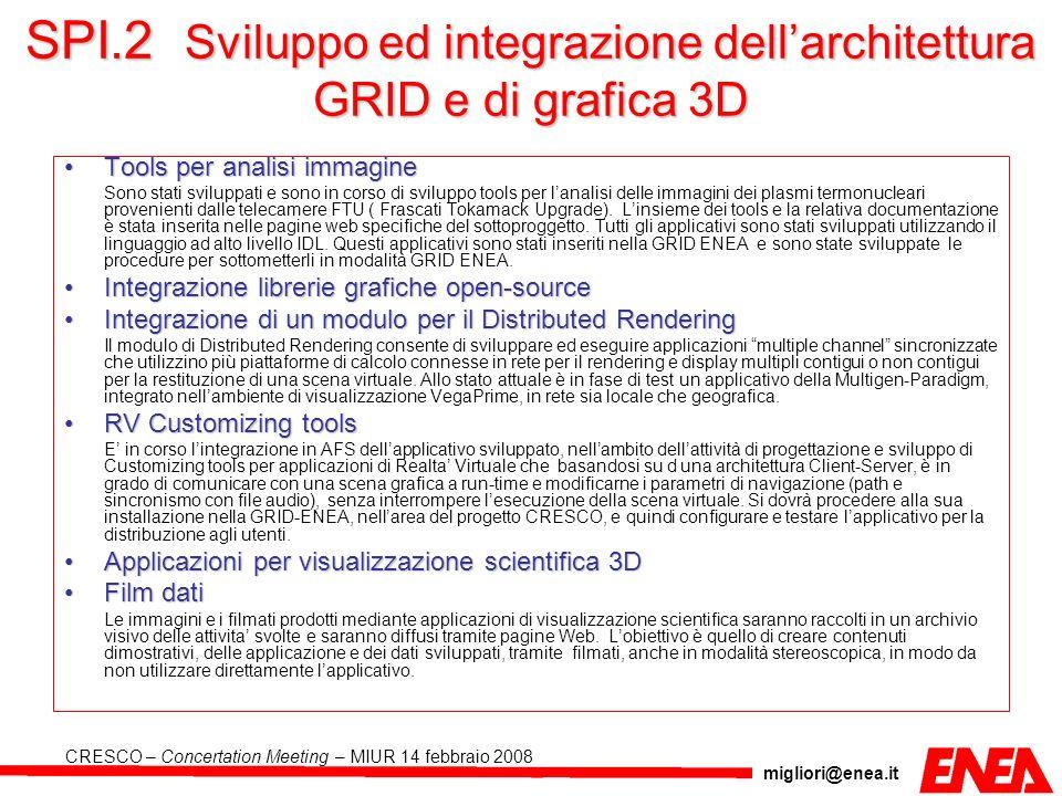 migliori@enea.it CRESCO – Concertation Meeting – MIUR 14 febbraio 2008 SPI.2 Sviluppo ed integrazione dellarchitettura GRID e di grafica 3D Tools per